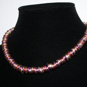 "Beautiful gold pink purple toggle necklace 17"""
